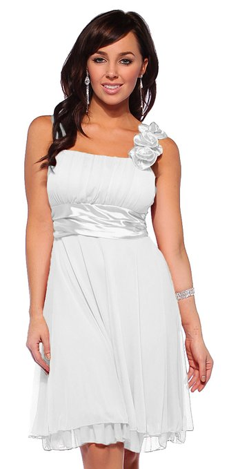 little white dress- Hot From Hollywood Women's Designer Gathered Empire Flowy Evening Prom Dress