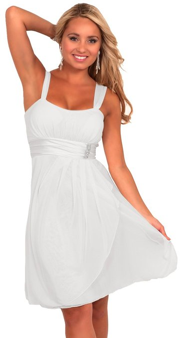 little white dress - Hot from Hollywood Women's Sleeveless Rhinestone Empire Waist Sheer Party Dress