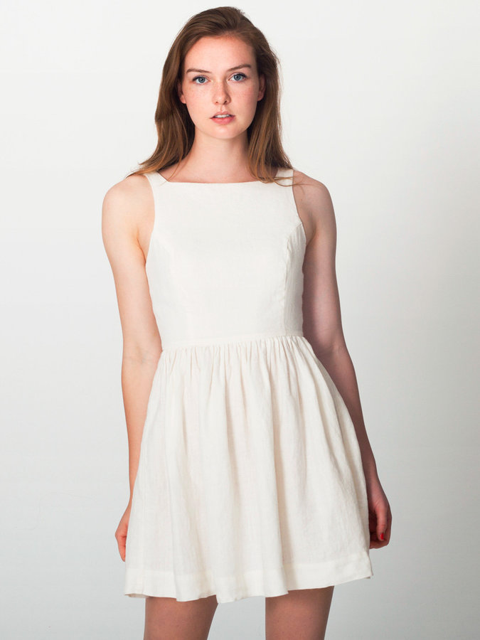 little white dress - Linen Sun Dress by American Apparel