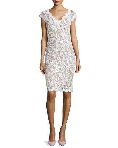 little white dress - Tadashi Shoji Lace Cap-Sleeve Sequined Cocktail Dress from Neiman Marcus