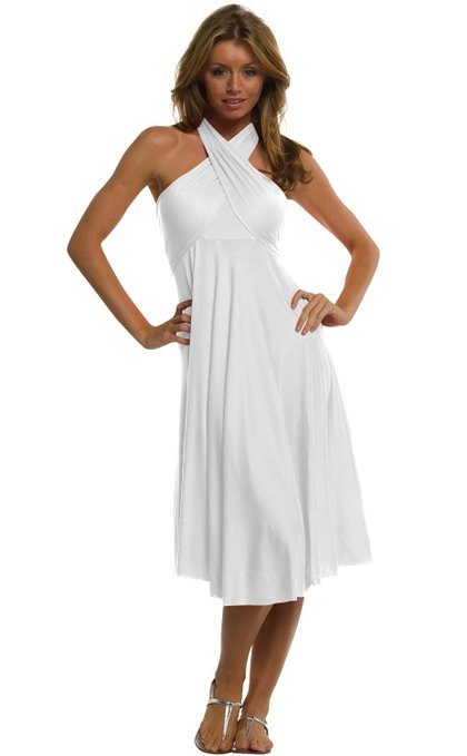 little white dress - Vivian's Fashions Dress:Skirt - Twist Wrap