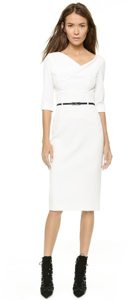 little white dress - black halo 3:4 sleeve jackie o dress
