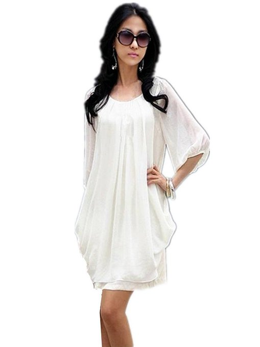 little white dress - casual pleated dress