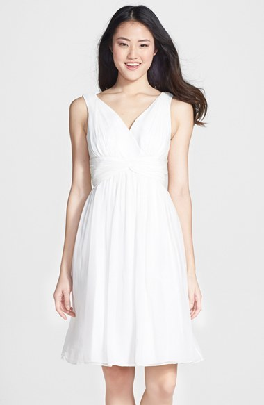 little white dress for wedding activies - Donna Morgan Chiffon Twist Dress