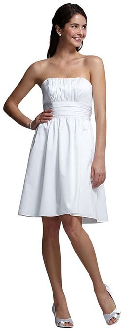 little white dress - short strapless cotton dress
