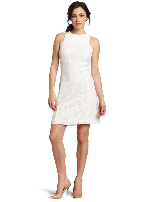 little white dress - sleeveless thick lace dress white
