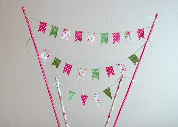 spring DIY fabric cake bunting - midsouthbride.com