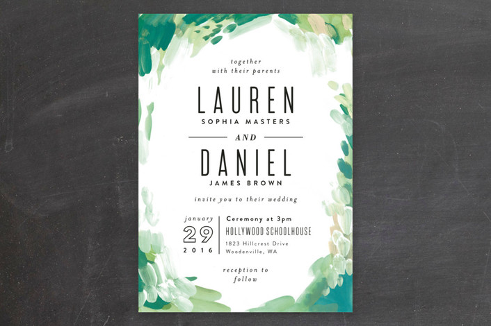 Gallery Abstract Art Green Wedding Invitations from Minted