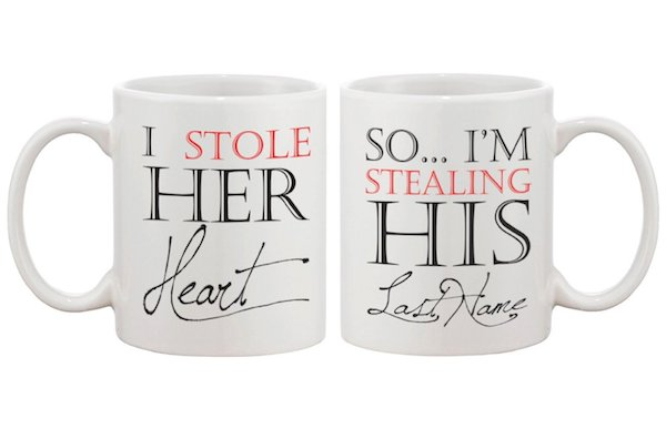 I Stole Her Heart, So I'm Stealing His Last Name Couple Mugs - His and Hers Matching Coffee Mug Cup Set