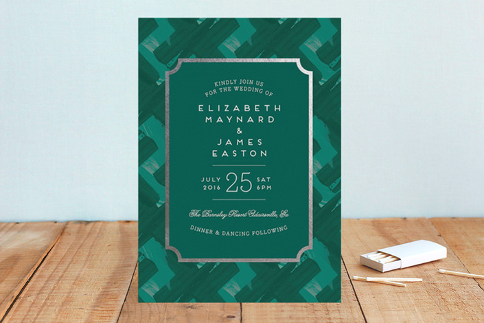 green Gallery Label Foil-Pressed Wedding Invitations from minted