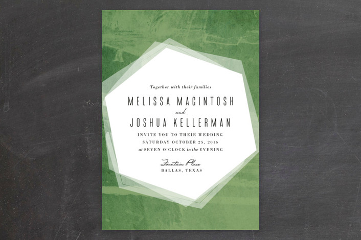 green hex wash wedding invitations from minted