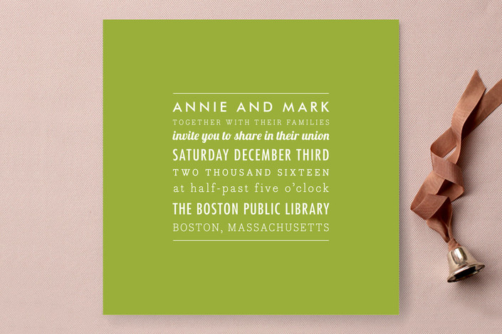 green square wedding invitation from minted