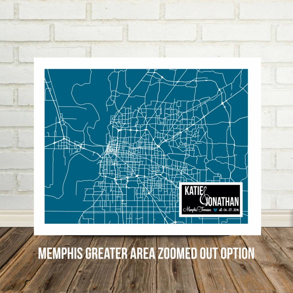 colorful memphis tn map wedding gift