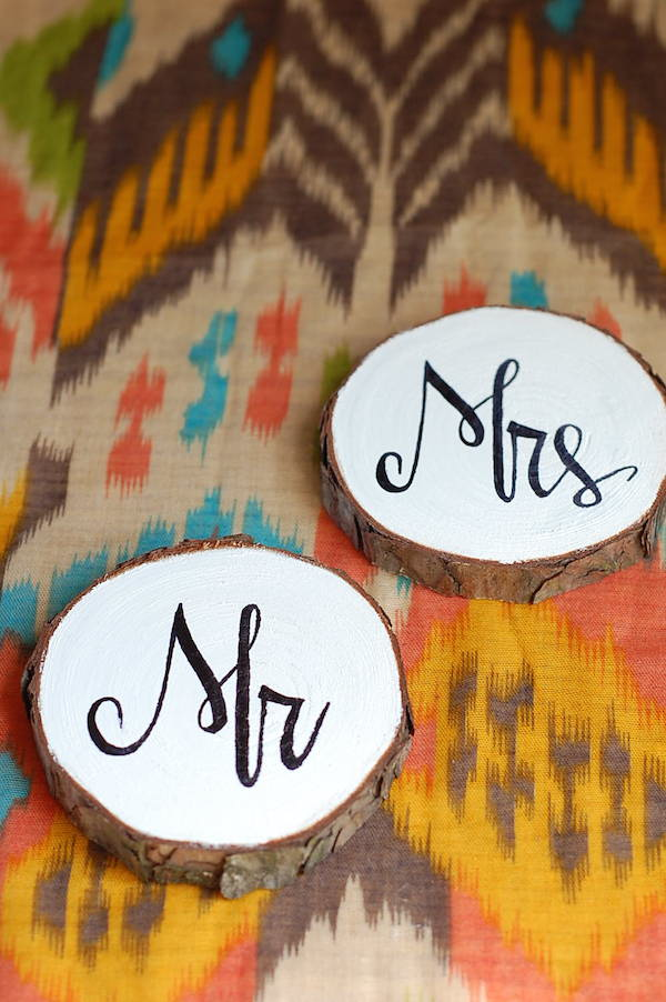 diy painted wood wedding coasters mr + mrs