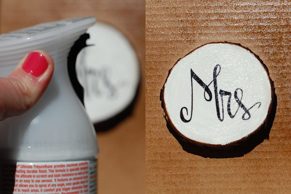 diy painted wood wedding coasters spray step