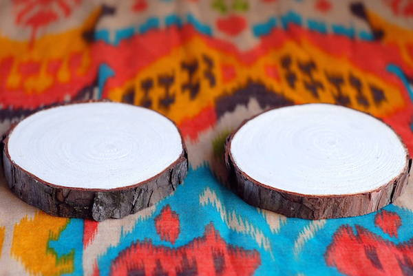 diy painted wood wedding coasters white base