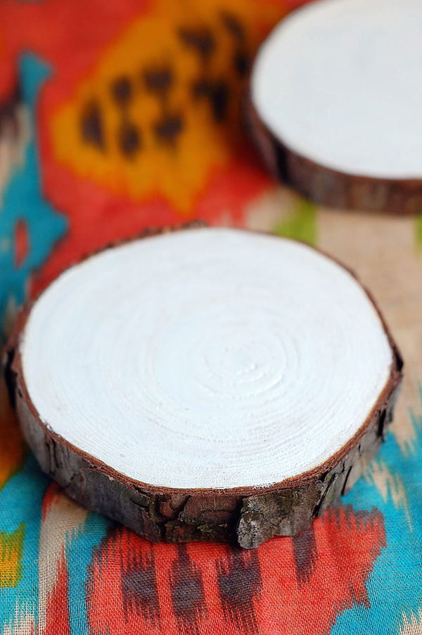 diy painted wood wedding coasters white bases