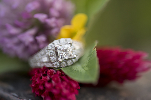ring floral shot - ring Jaqui & Jason's Elegant Country Engagement - photo by Ivory Door Studio - midsouthbride.com