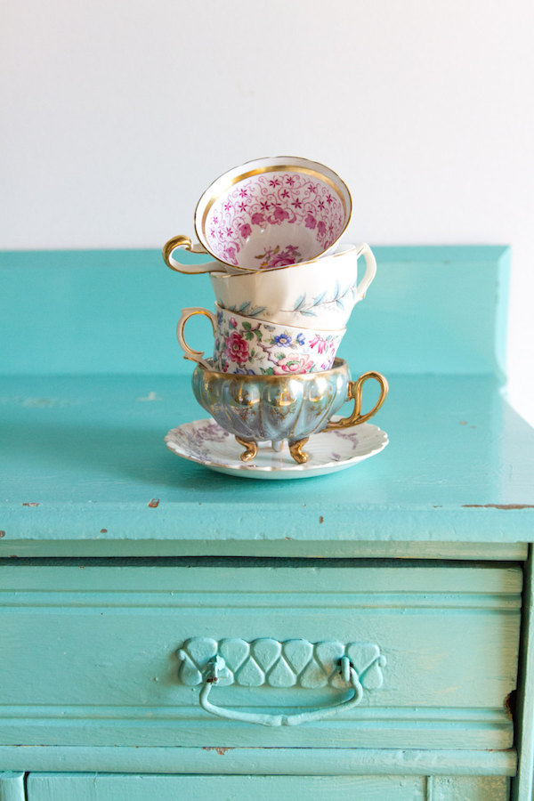 tea cups and saucers for tea party bridal shower - Zin and Honey - midsouthbride.com