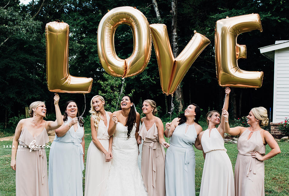 Giant Balloon Letters Memphis Wedding Fabiana & Daniel by Sara Ann Green Photography