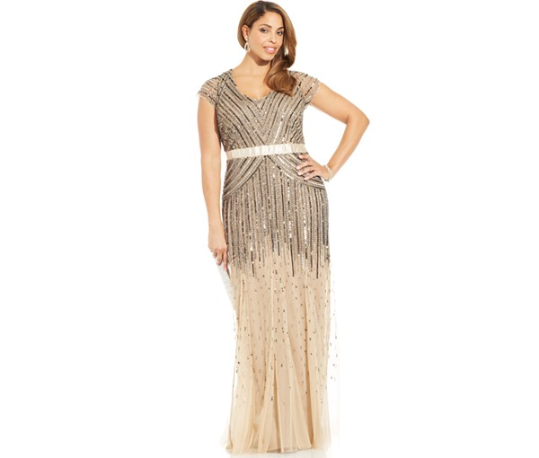 Adrianna Papell Plus Size Cap-Sleeve Beaded Sequined Bridesmaid Gown