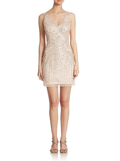 Aidan Mattox Illusion-Back Sequin Bridesmaid Dress