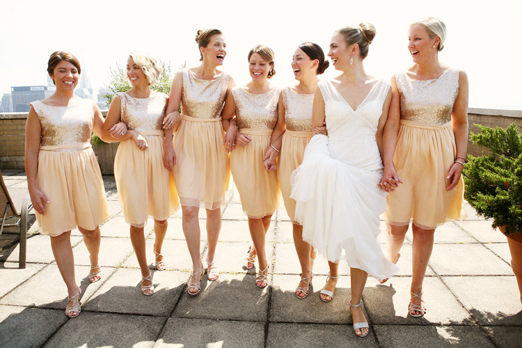 Bridesmaid dress Gold champagne sequin chiffon bridal party metallic chiffon skirt