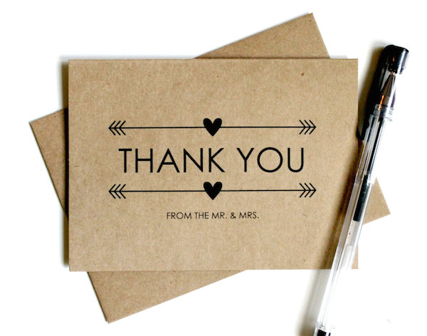 Kraft Thank You Card wedding thanks - by Simply C Boutique - midsouthbride.com