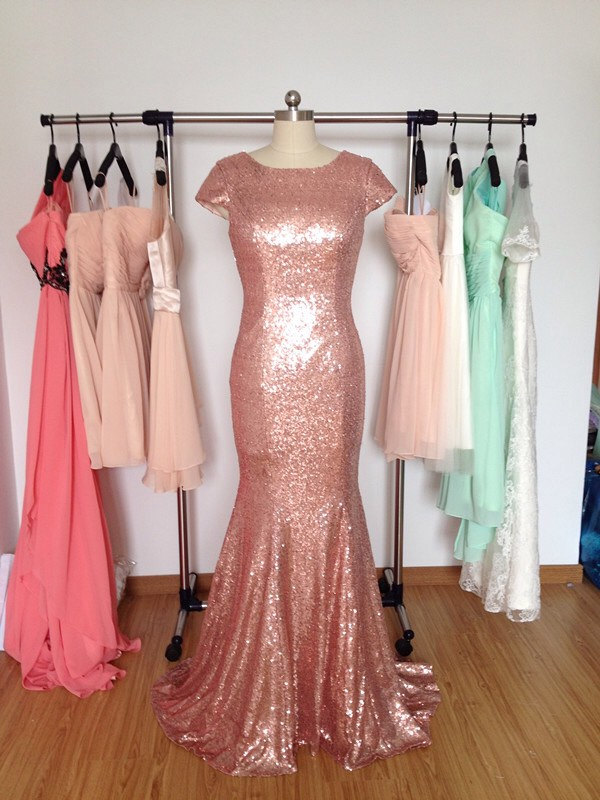 Rose Gold Sequin Mermaid Bridesmaid Dress