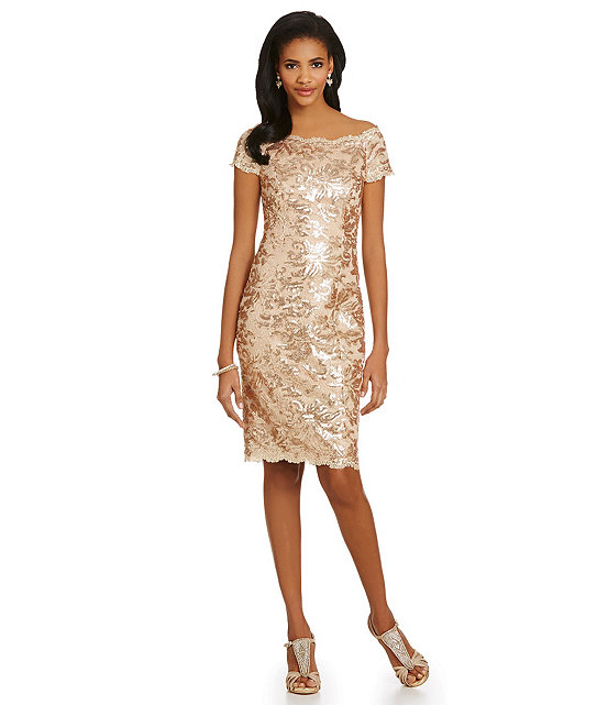 Sequined Lace Off-the-Shoulder Sheath Dress