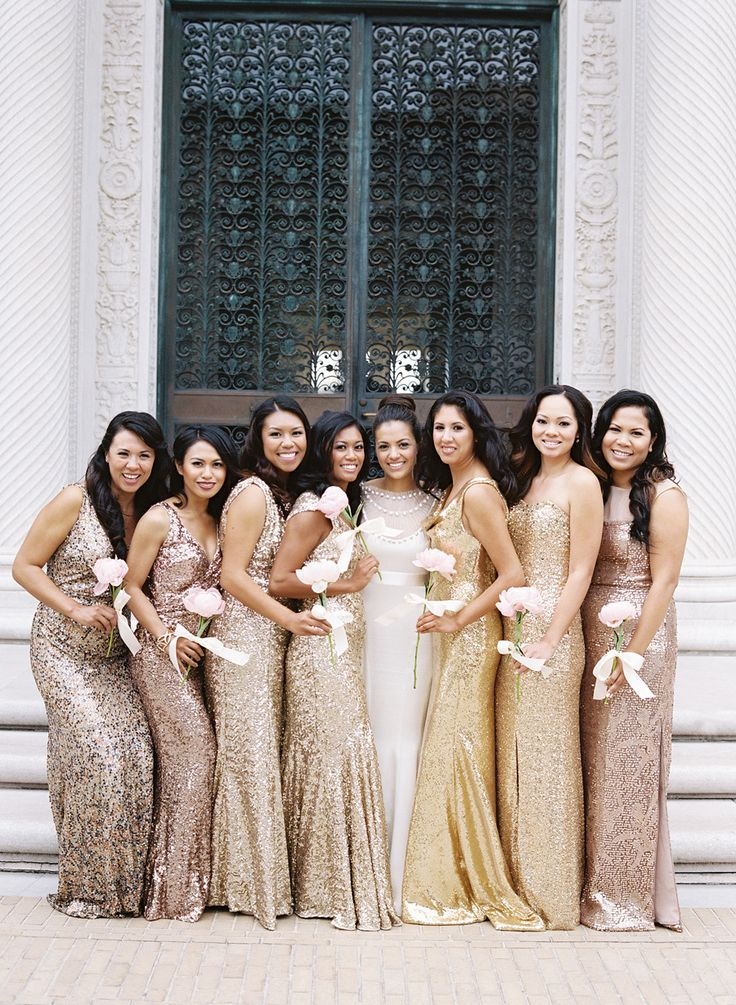 Sparkly-dresses-wedding-gold-copper-bridesmaids