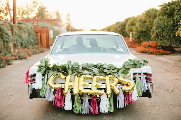 cheers letter balloons for your wedding car exit