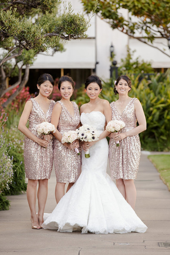 sparkly rose sequin v-neck bridesmaid dress