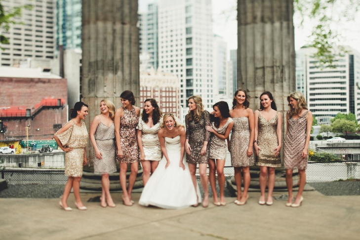 sparkly wedding metallic bridesmaid dresses