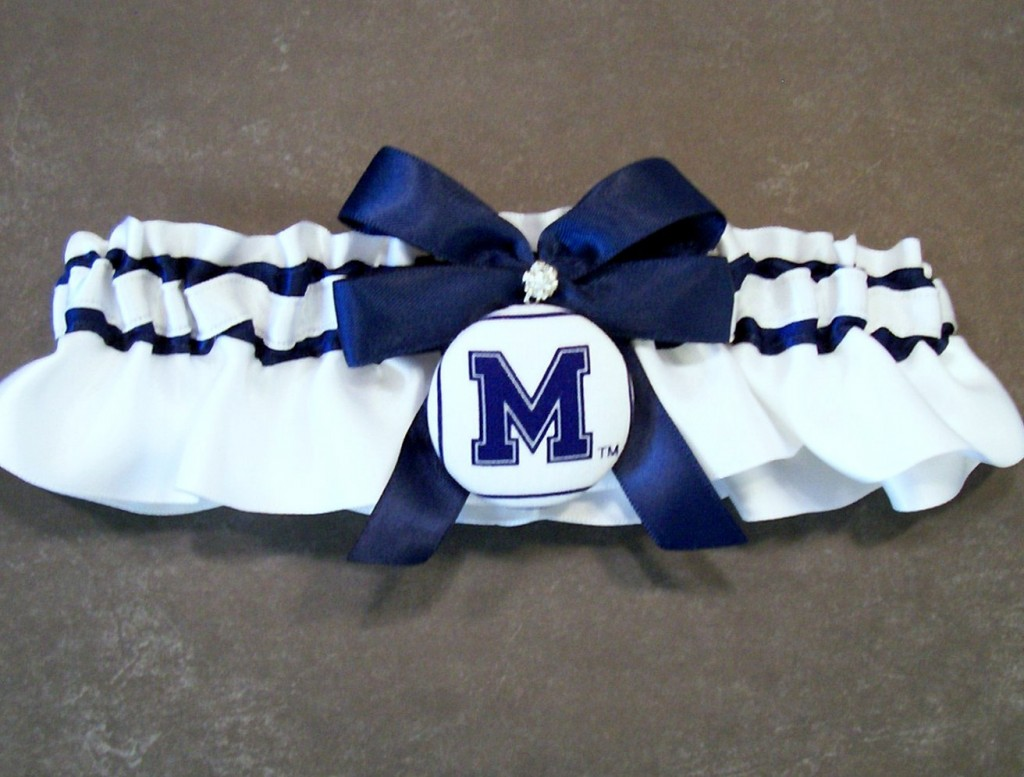 Handmade Navy Blue and White Wedding Garter Bridal Garter, with Memphis Fabric Covered Button Embellishment