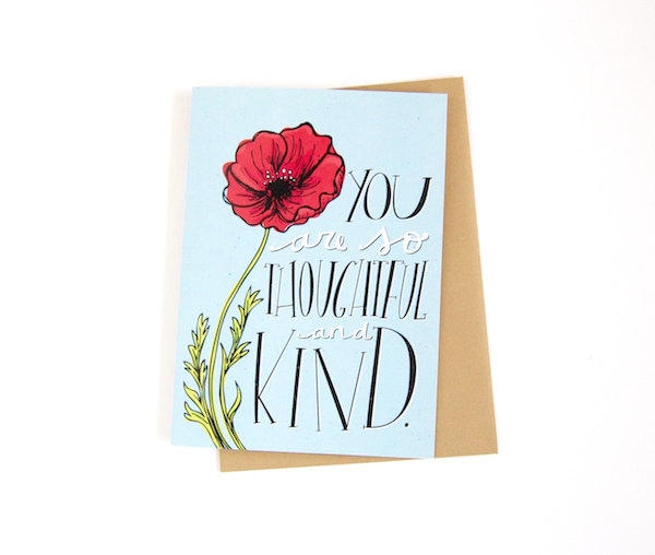 Poppy wedding thank you card - Katie Vaz Design - misouthbride.com
