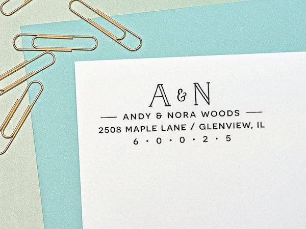 Return Address Stamp, Self Inking Address Stamp, Monogram, Personalized Wedding Gift