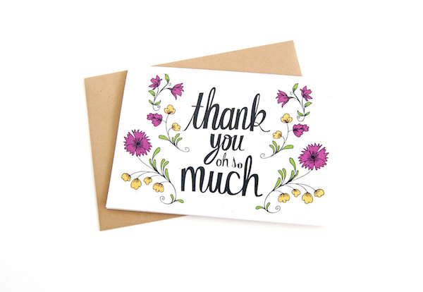 Thank You Oh So Much Card - Floral Illustration Card - by Katie Vaz - midsouthbride.com