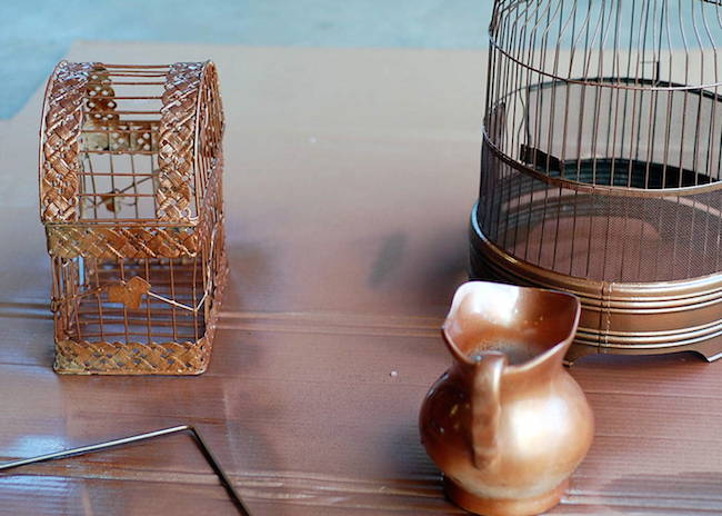 diy copper birdcage flower vase centerpiece