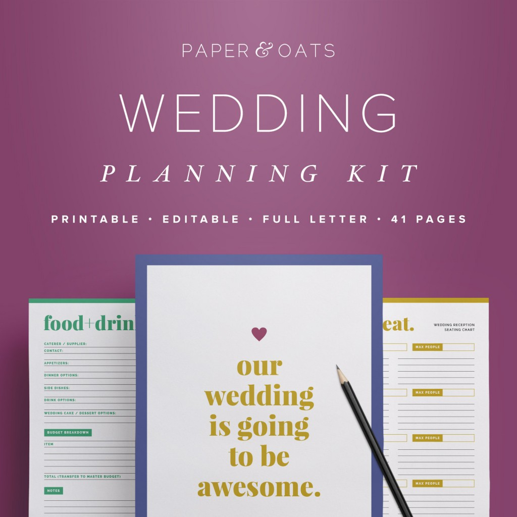 paper and oats wedding planning kit with printable budget