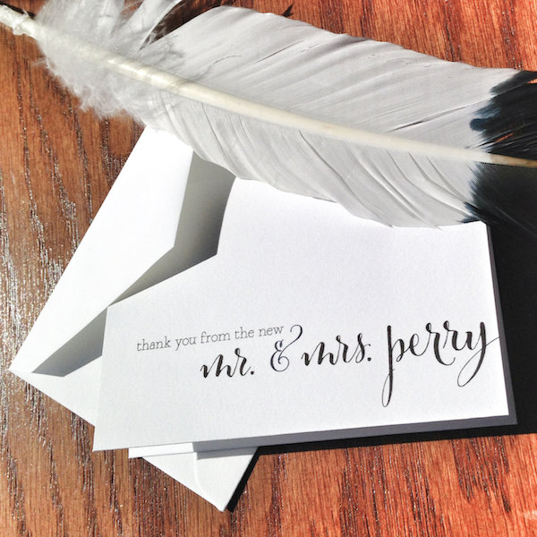 thank you from new mr and mrs wedding thank you cards - Veronica Foley Design - midsouthbride.com