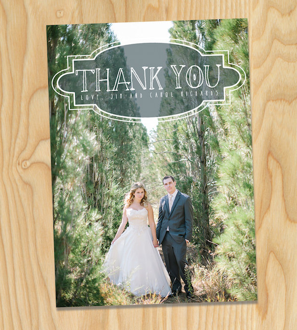 vintage faded wedding thank you cards