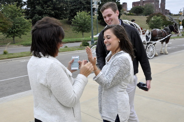 Catherine & Jack's Beale Street Landing Proposal Family Congrats- photo by Sara - midsouthbride.com