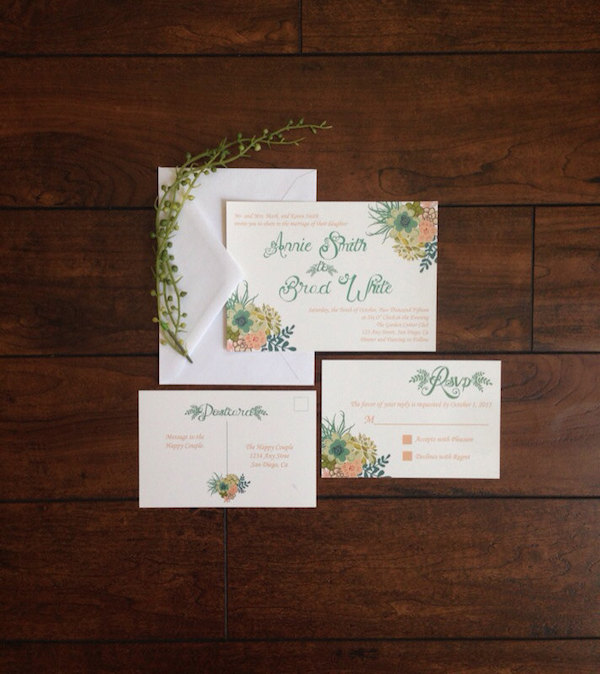 Coral and Teal Succulent Calligraphy Wedding Invitation by Simple Simon Design - midsouthbride.com