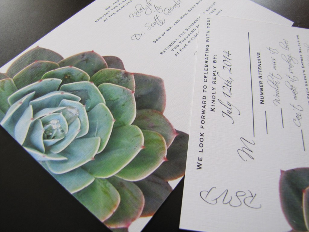 Custom Succulent Wedding Invitation by CMYKnot - midsouthbride.com