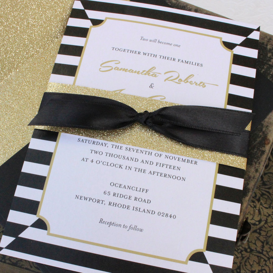 Delightful Kate Spade Inspired Elegant Black And Gold Wedding Invitation By Beyond  Design