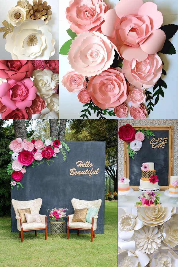 Paper flower wedding reception wall ideas mid south bride large paper flower wedding backdrop ideas by paper flora on etsy mightylinksfo