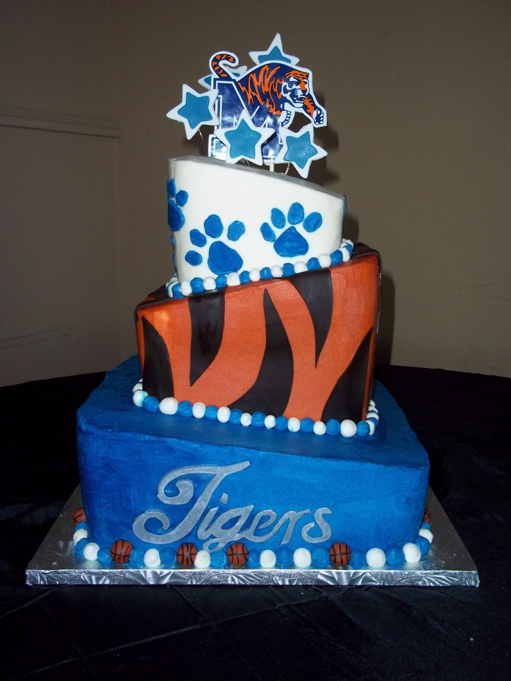 Memphis Tigers Groom's Cake - Blue & Grey Cake - Frost Bake Shop in Memphis