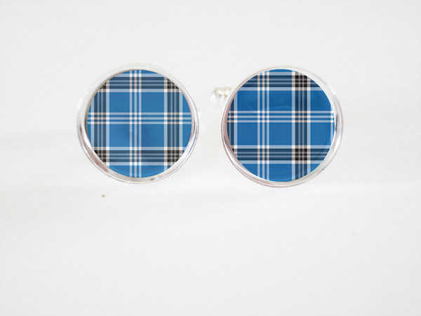 Mens Cufflinks - blue and gray plaid cufflinks- groomsmen wedding cufflinks gifts