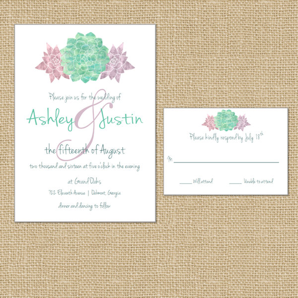Mint Coral Blush Pink Purple Watercolor Succulent Wedding Invitations by White Lace Stylists - midsouthbride.com